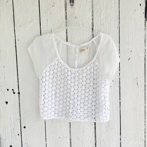 Hollister- beachy sheer white lace crop top